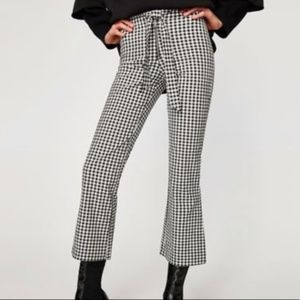 Zara Trafaluc Gingham Plaid Checkered ZIP Pants